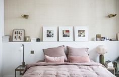 Dreamy pink and beige bedroom with brass details. Oh so lovely! From Milk Magzine - Paris : chez Morgane Sézalory, Sézane Farmhouse Kitchen Decor, Home Bedroom, Bedroom Design, Apartment Style, Bedroom Trends, Pink Bedding, Bedroom Decor, Beautiful Bedrooms, Home Decor