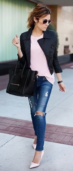 #fall #fashion / leather jacket + pink