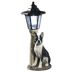 Amazon.com : Bits and Pieces-Solar Boston Terrier Lantern-Solar Powered Garden Lantern - Resin Dog Sculpture With LED Light : Patio, Lawn & Garden