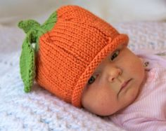 Pumpkin Baby Hat, Infant Toddler Child sizes, Fall, Halloween, Thanksgiving, Handmade knitting