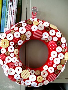 Wreath for Christmas GIANT size in Red and White Scandi colour theme Buttons. SOLD OUT made to order on Etsy, $63.07