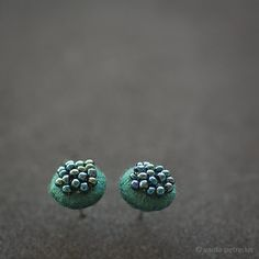 Really glorious green teal blue studs, quite small round stud earrings made with true love from handmade felt, small seed beads, surgical