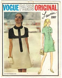 Vintage Lanvin sewing pattern circa 1970s, Vogue Paris Original