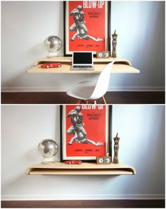 Space-saving floating workdesk