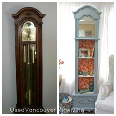 grandfatherclock converted to colorful shelves
