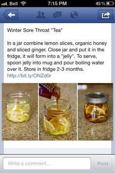 Winter Cold Remedy - I'll try this, since I usually make fresh ginger & lemon tea, and then add a dollop of honey to my cup. Same ingredients, easier to keep and use, though.