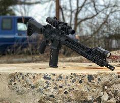 "gungramer: ""That's mean lookin' - 📷 "" Tactical Rifles, Firearms, Shotguns, Ar Pistol Build, Ar Platform, Battle Rifle, Colt 1911, Fire Powers, Military Guns"