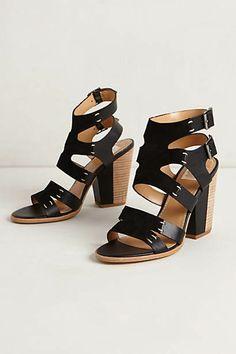 Riverway Heels chunky black strap heels from Anthropologie