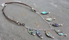 Brown leather necklace abalone shells wire by HollyMackDesigns, $124.00