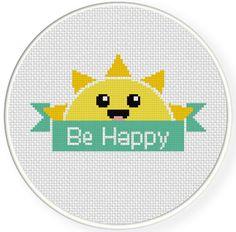 FREE Be Happy Banner Cross Stitch Pattern