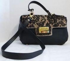 VALENTINA ITALIA Black Leather & Pony Hair Satchel Shoulder Bag Handbag Purse