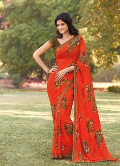 Ideal Georgette Colour Orange Printed Saree  https://www.gnoutlet.com/collections/sarees/products/incredible-maroon-colour-net-lace-border-work-saree