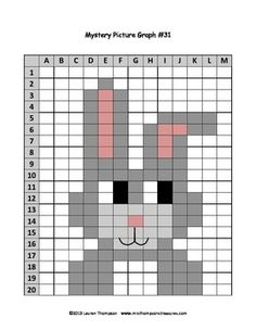 Easter Bunny Mystery Picture Graph - fun activity for upper elementary students! Stitching On Paper, Cross Stitching, Cross Stitch Embroidery, Cross Stitch Patterns, Pixel Art, Safety Pin Crafts, Cute Bunny Pictures, Pixel Crochet, Plastic Canvas Patterns