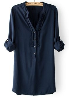 Navy Blue V-neck Long Sleeve Cotton Blend Blouse