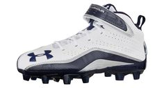 UA football cleats with mid foot power strap for locked in support and a molded TPU plate for onfield mobility. $84.99