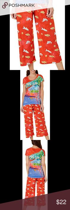 Leoma Lovegrove Island Red Pajama Sleep Pant XL Inspired by the Florida lifestyle, Leoma Lovegrove designs incorporate vibrant, colorful hues & tropical prints.  These original artwork Polyester Knit/Spandex fish print pajama capris are NWT and feature an elastic waist.  From a smoke free home. Leoma Lovegrove Intimates & Sleepwear Pajamas