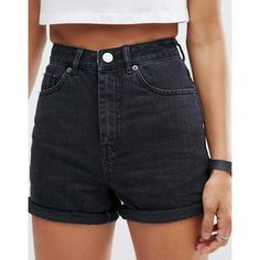 ASOS Denim Mom Shorts in Washed Black (575 ARS) ❤ liked on Polyvore featuring shorts, bottoms, high-rise shorts, high waisted zipper shorts, highwaist shorts, high waisted shorts and asos shorts