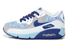 Premium Women's Shoe Nike Air Max 90 Blue Grey White UK Outlet