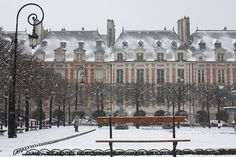 Paris Photography Christmas Snow in Paris Place des Vosges $30 by rebeccaplotnick