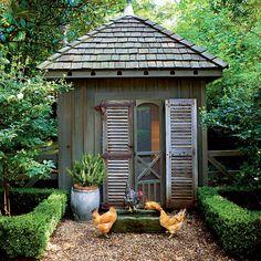 southern living coop, gravel path, shutters, screen door, boxwood