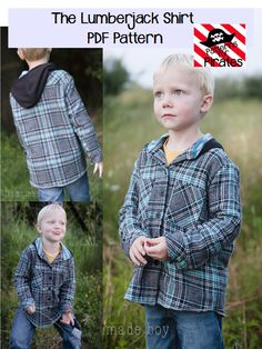 The Lumberjack Shirt- flannel button up shirt or jacket for baby and boys sizes PDF Sewing Pattern by Patterns for PIrates Sewing Projects For Kids, Sewing For Kids, Sewing Crafts, Diy Crafts, Boys Sewing Patterns, Shirt Patterns, Kids Patterns, Pattern Sewing, Clothing Patterns