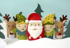 Santa's Village Set - 5 wool felt finger puppets. $40.00, via Etsy.