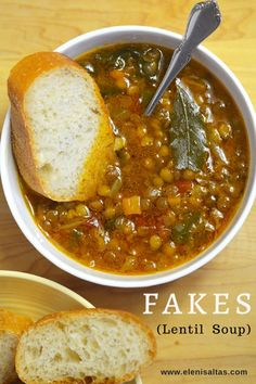 FAKES SOUPA or simply FAKES (fah-KESS) is a Greek staple. Simply simmer your favorite vegetables with the lentils, and season to taste. Greek Recipes, New Recipes, Cooking Recipes, Favorite Recipes, Mexican Soup Recipes, Cooking Tips, Recipies, Lentil Soup Recipes, Gourmet