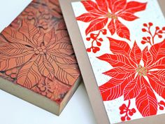 Block Printed Christmas Card Poinsettia by TheImaginationSpot