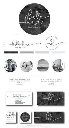 Bella Luna Kit etsy-Logo - All about design - Circle Logo Design, Circle Logos, Custom Logo Design, Round Logo Design, Logo Branding, Branding Design, Design Typography, Watercolor Logo, Watercolor Design