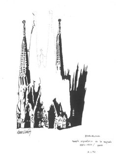 Sagrada Familia. Materials: pen, ink, paper