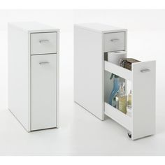 Slim Bathroom Storage Drawers - Bathroom cabinets or medicine cabinets were terms used to reference a simple white box that w Slimline Bathroom Storage, White Bathroom Storage, Bathroom Storage Units, Modern Bathroom Cabinets, Cupboard Storage, Storage Drawers, Storage Cabinets, Bathroom Furniture, Locker Storage