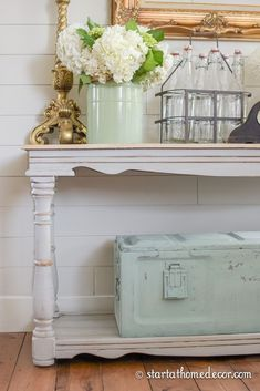 Did you know milk paint can be paint straight on old metal to create a beautiful chippy finish? You can read all about our milk painted metal ammo box here Metal Drawer Cabinet, Metal Drawers, Rustic Farmhouse Decor, Farmhouse Style Decorating, Cottage Farmhouse, Foyer Decorating, Decorating Blogs, Home Decor Bedroom, Entryway Decor