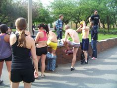 Students Strip down and donate clothes at the Nearly Naked Run