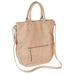 Xhilaration® Perforated Tote Handbag with Studs - Blush Pink