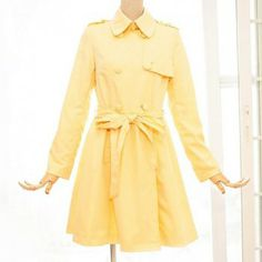 $24.52 Ladylike Polo Collar Ruffled Double-Breasted Yellow Women's Trench Coat With A Belt