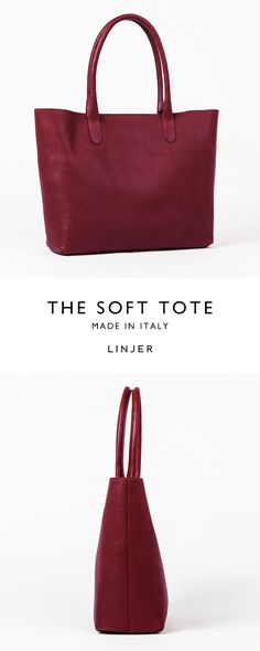 Leather tote in a rich wine colour