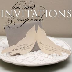 Items similar to Love Bird Wedding Invitations & RSVP Sample on Etsy Wedding Pins, Wedding Paper, Wedding Trends, Wedding Decor, Wedding Stuff, Wedding Ideas, Beautiful Wedding Invitations, Wedding Stationary, Love Birds Wedding