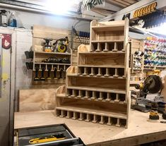 CNC Made Cordless Drill Organizer, Wall Mounted Cordless Tool Holder, Power Tool Storage, Tool Storage Gift, Garage Tool Storage Tool Wall Storage, Power Tool Storage, Wall Organization, Garage Storage, Backyard Storage, Power Tools, Woodworking Shop, Woodworking Plans, Woodworking Projects