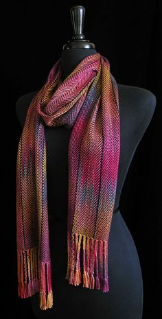 Hand Dyed Yarn -Handwoven Scarf by FiberFusion on Etsy