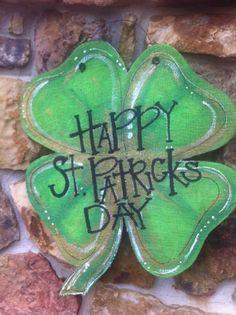 St. Patrick's day burlap door hanger
