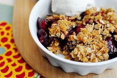 Cherry Almond Crisp is a simple yet absolutely luscious summer dessert. Or use frozen cherries to make all year round!