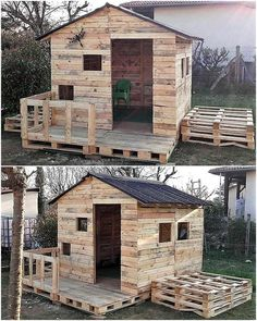 Wood Pallets Here is another great idea of creating a playing place for the kids, a person needs to spend just a few days to create this kids playhouse shed; but it will make the area look amazing. Kids will surely love the playhouse. Woodworking Projects Diy, Diy Pallet Projects, Woodworking Plans, Pallet Kids, Wood Projects, Popular Woodworking, Woodworking Furniture, Pallet Barn, Diy Furniture