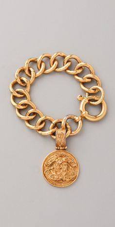 Vintage Chanel CC Florentine Charm Bracelet