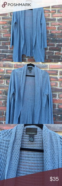 Cynthia Rowley Blue Sweater XL Cynthia Rowley Blue Sweater,size extra-large, linen cotton blend, longsleeve, light and airy, empire waist in the back to cover the caboose, pictures are part of the description. Cynthia Rowley Sweaters