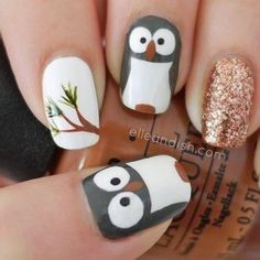 too cute! owl nails