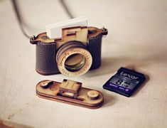 Wood and Leather Camera LOCKET version  Aztec by StrangelyYours, $55.00