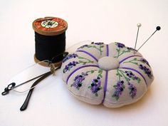 Lavender Pincushion  Hand Embroidered Linen by LaughRabbitDesigns, $30.00