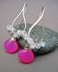 Pink Chalcedony Labradorite and Moonstone Wire by NellBelleDesigns, $38.00