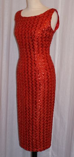 Vintage late 1950s early 1960s red sequin and lurex hourglass cocktail wiggle dress  S M rockabilly VLV by OuterLimitz on Etsy