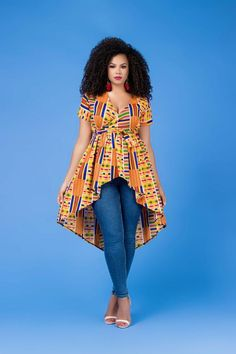 A stunning example of handmade African fashion, the Christtie African Print Top is bold, beautiful and perfect for showing off your curves. African Fashion Ankara, Latest African Fashion Dresses, African Print Fashion, African Print Shirt, African Shirts, African Shirt Dress, Short African Dresses, African Print Dresses, African Attire